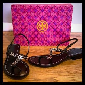 Tory Burch Black Gemini Link T Strap Sandals NWT